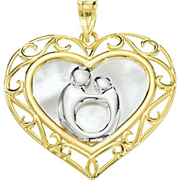 10K Yellow Gold Divine Heart Mother and Child Pendant by Janel Russell