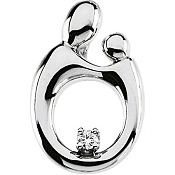 14K White Gold Diamond Mother and Child Pendant by Janel Russell 14mm