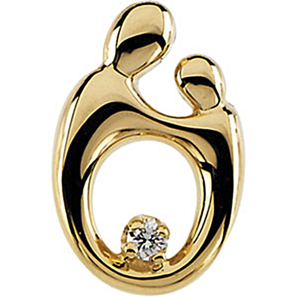 14K Yellow Gold Diamond Mother and Child Pendant by Janel Russell 14.75mm