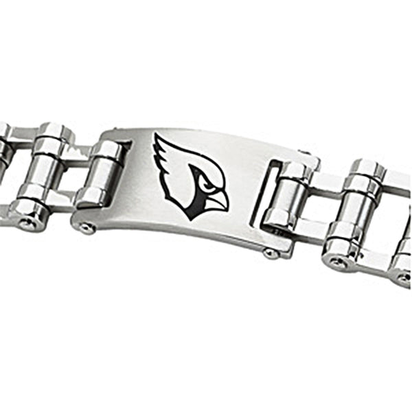 Stainless Steel Arizona Cardinals Logo ID Bracelet