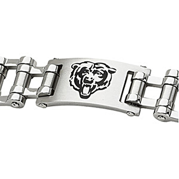 Stainless Steel Chicago Bears Logo ID Bracelet
