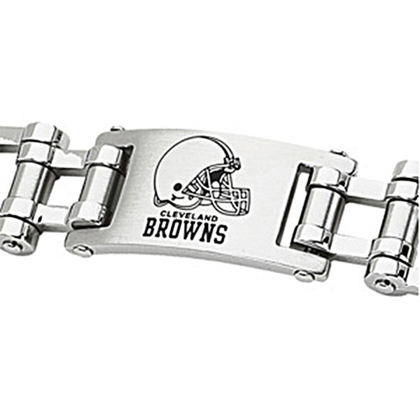Stainless Steel Cleveland Browns Logo ID Bracelet