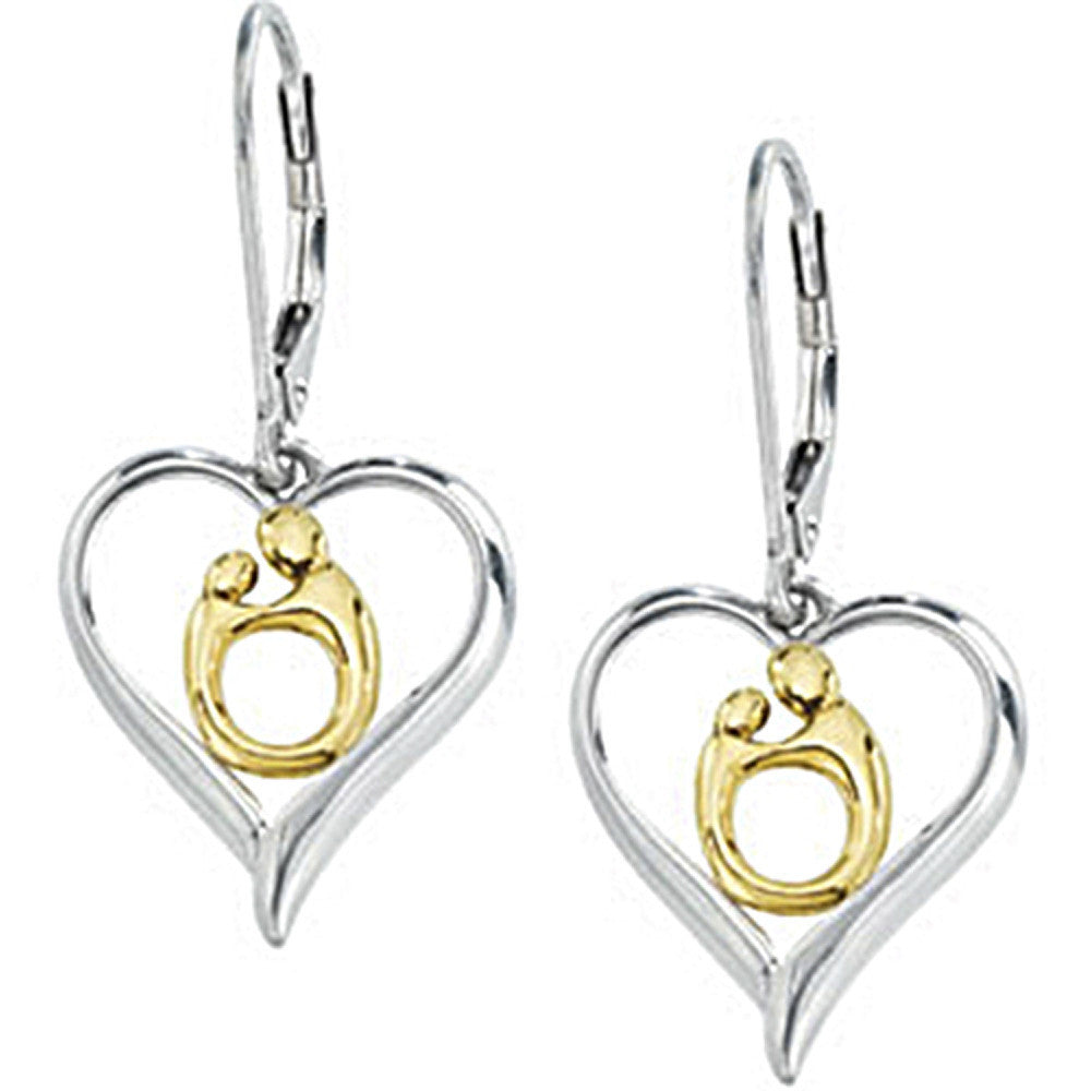 10k Gold Sterling Silver Hollow Heart Mother And Child Earrings By