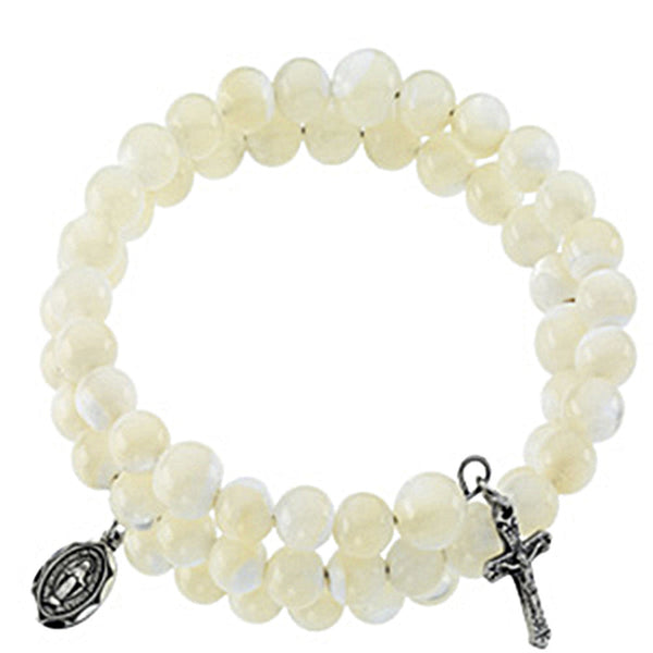 White Mother of Pearl Wrap Rosary Bracelet