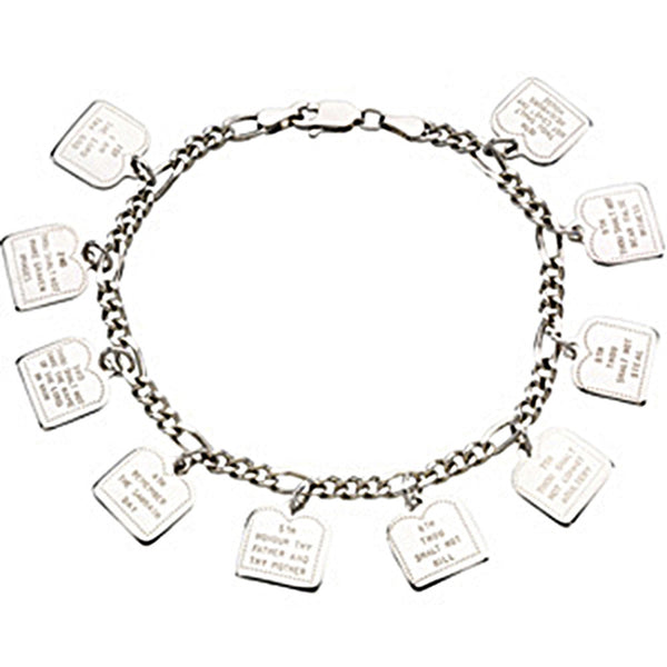 Sterling Silver Ten Commandments Bracelet