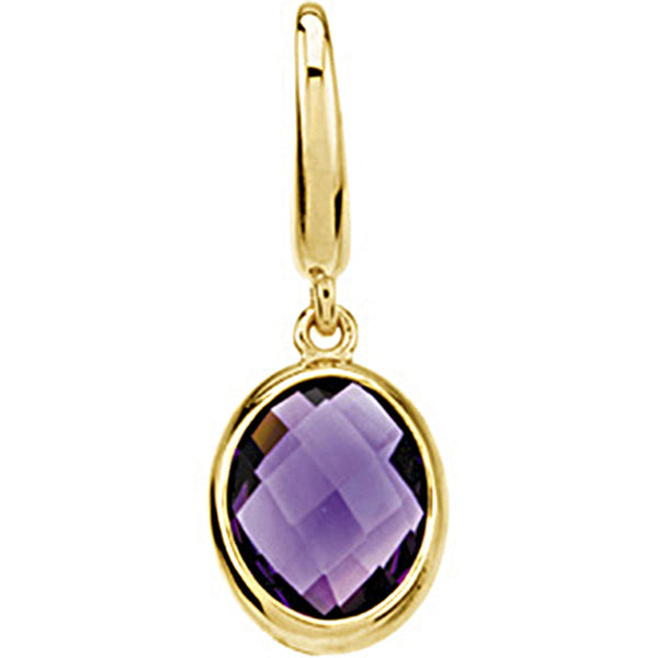 14kt Yellow Gold Genuine Amethyst Charm