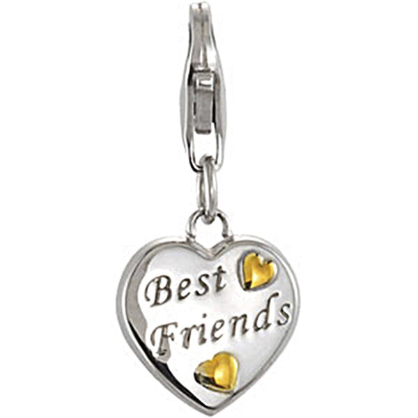Sterling Silver Best Friends Engraved Heart Charm