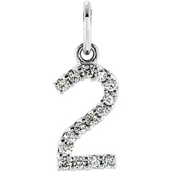 14kt  White Gold .07 cttw Diamond Number 2 Charm
