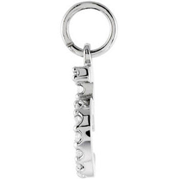14kt  White Gold .07 cttw Diamond Number 5 Charm