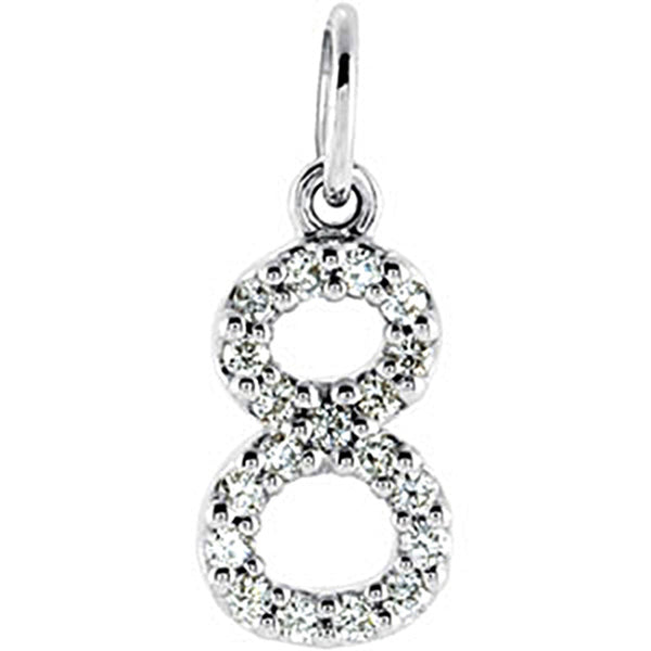 14kt  White Gold .07 cttw Diamond Number 8 Charm