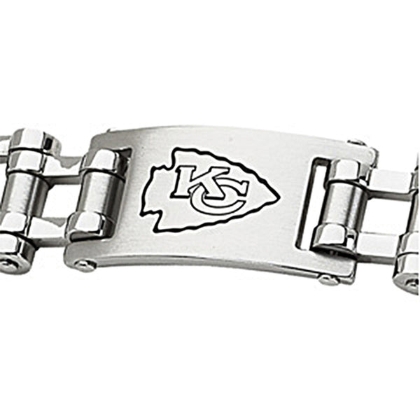 Stainless Steel Kansas City Chiefs Logo ID Bracelet