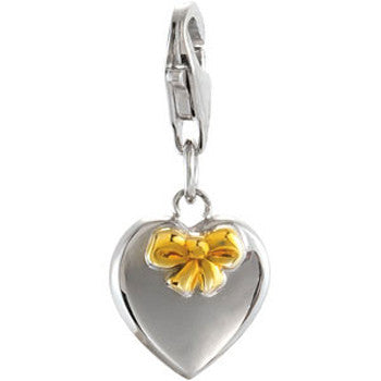 Sterling Silver Heart Charm IP Yellow Bow Accent