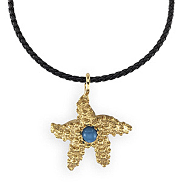 14K Gold Genuine Turquoise Cabochon Starfish Charm