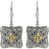 18K Gold and Sterling Silver Filigree Square Earrings