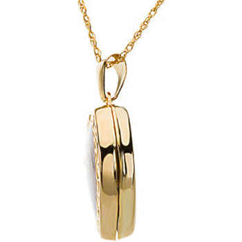 14kt Yellow Gold Mother of Pearl Mom Locket Necklace