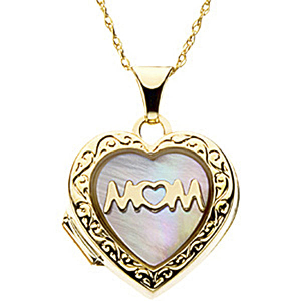 14K Yellow Gold Mother of Pearl Mom Locket Necklace