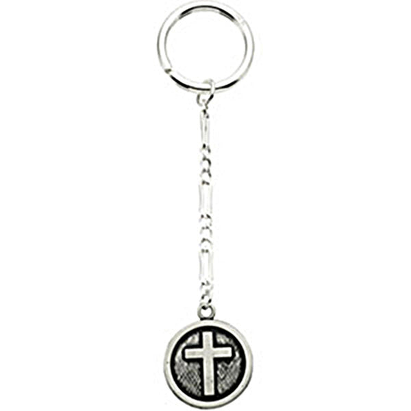 Sterling Silver Inspirational Blessings Cross Key Chain