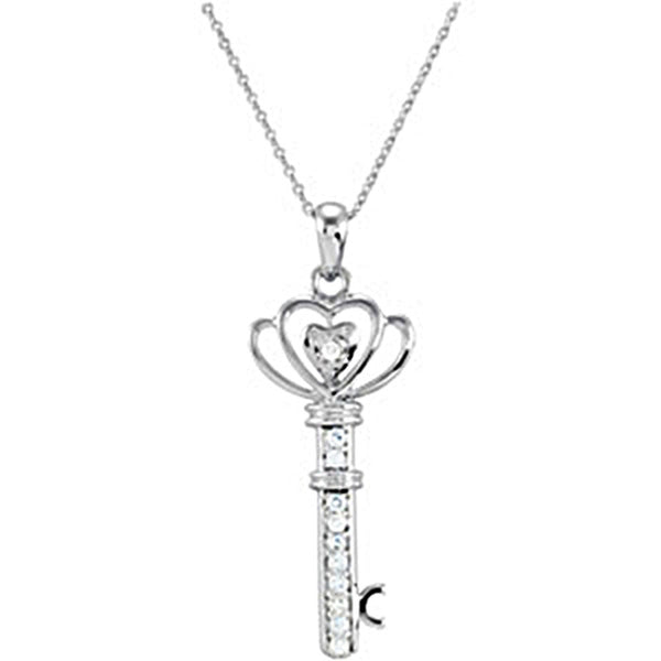Sterling Silver Family Key of Love Necklace