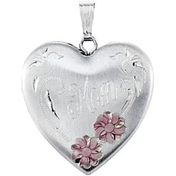 Sterling Silver Heart Mom Locket with Pink Flowers