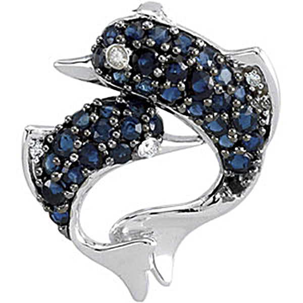 14K White Gold Sapphire and Diamond Dolphin Mother Pendant