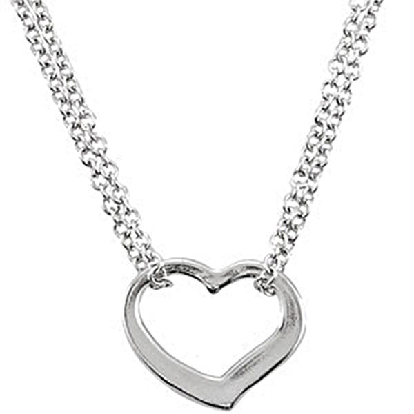 Sterling Silver Heart Outline Necklace