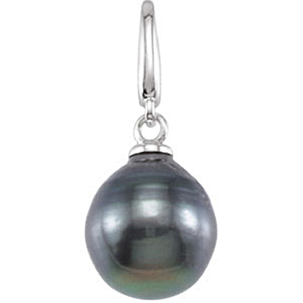 14K White Gold Tahitian Cultured Circle Pearl Charm