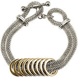 Amalfi Stainless Steel Mesh with Gold Immersion Plated Circles Women's Bracelet