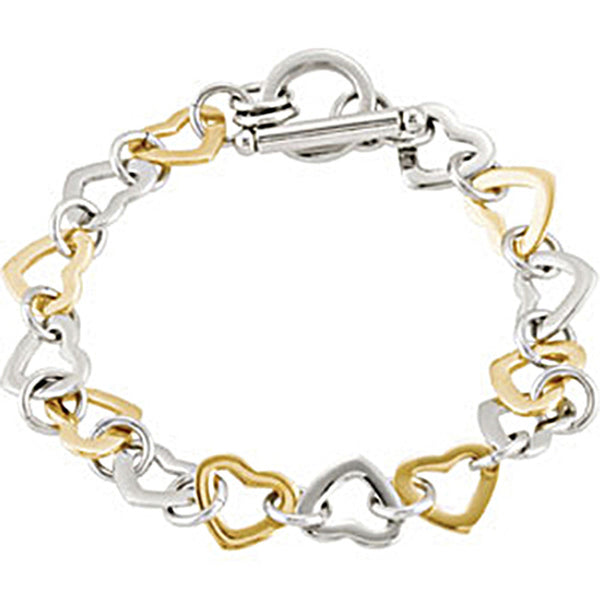 Stainless Steel Two Tone Heart Link Women's Bracelet