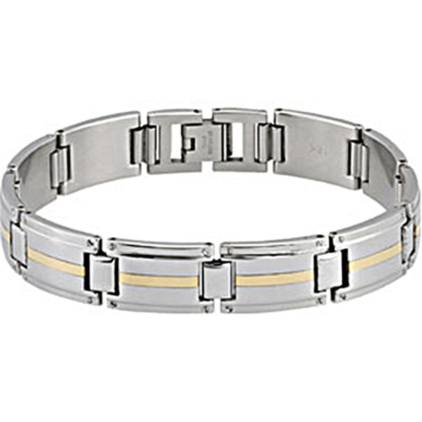 1.3MM Stainless Steel 10K Yellow Gold Inlay Men's Bracelet