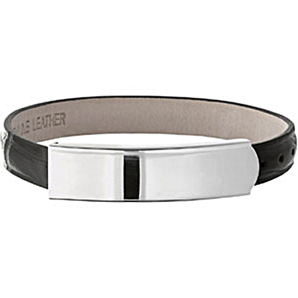 Amalfi Stainless Steel Black Leather ID Bracelet