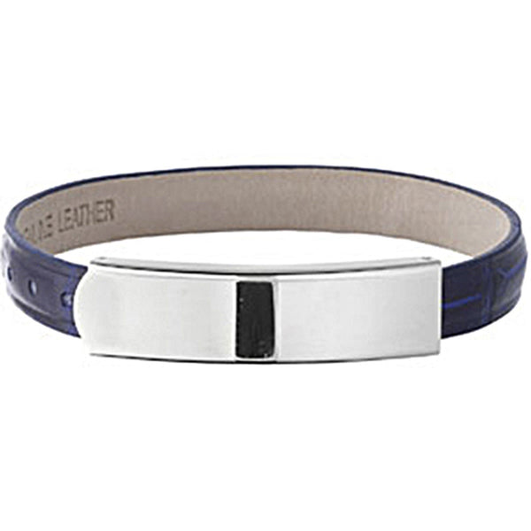 Amalfi Stainless Steel Dark Blue Leather ID Bracelet