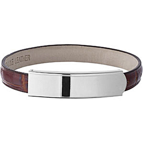 Amalfi Stainless Steel Light Brown Leather ID Bracelet