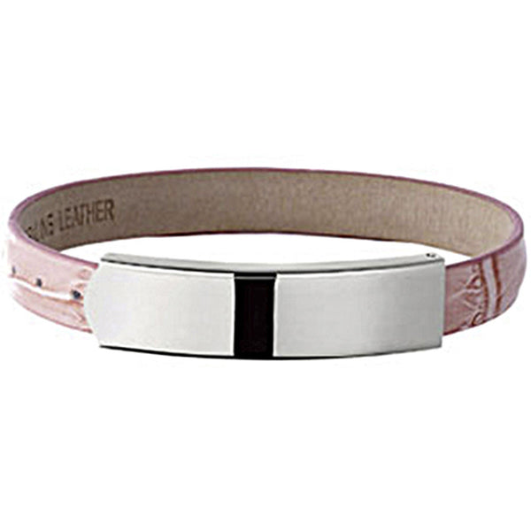 Amalfi Stainless Steel Pink Leather ID Bracelet