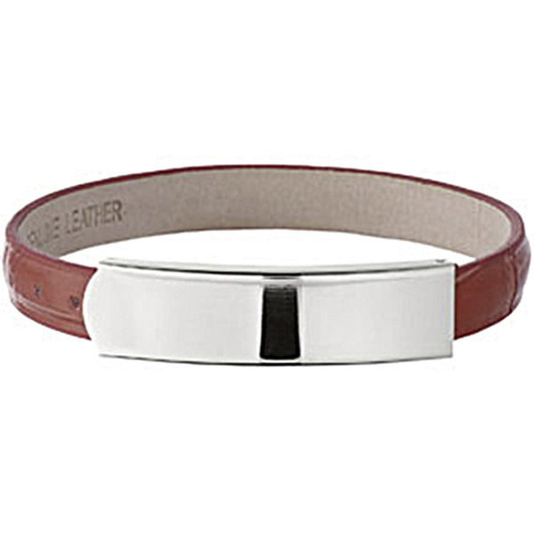Amalfi Stainless Steel Red Leather ID Bracelet