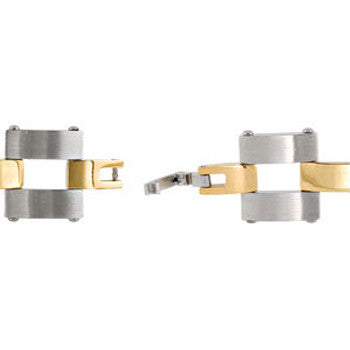 Stainless Steel Link with Gold Immersion Plating Bracelet