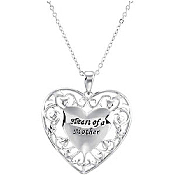 Inspirational Blessings Sterling Silver Heart of a Mother Necklace