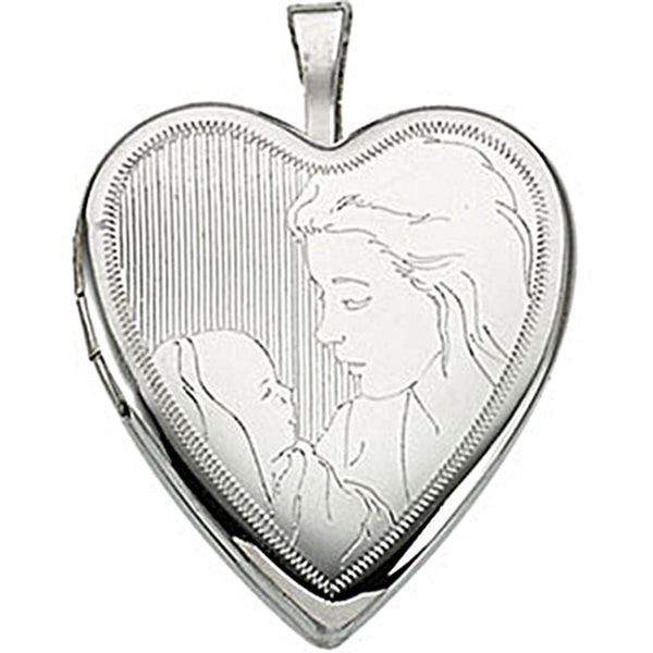 Sterling Silver Heart Child and Mother Locket