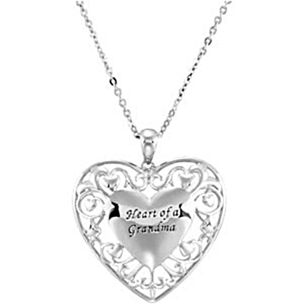 Inspirational Blessings Sterling Silver Heart of a Grandmother Necklace