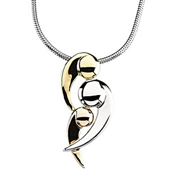 Inspirational Blessings 14K Tri Color Gold Three Generations of Love Pendant