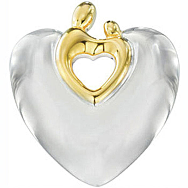 Sterling Silver with 18K Yellow Gold Plated Heart Shaped Mother and Child Pendant