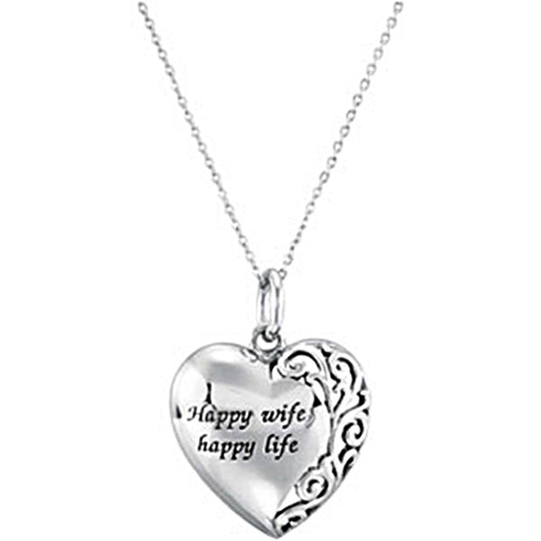 Inspirational Blessings Sterling Silver Happy Life Happy Wife Necklace