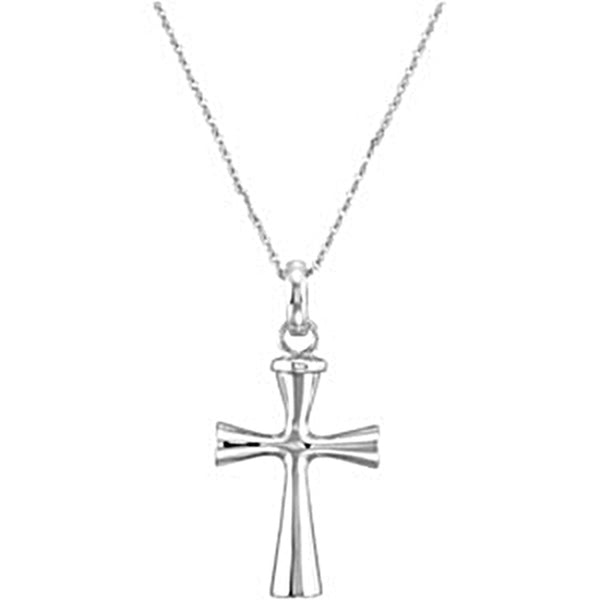 Inspirational Blessings Sterling Silver Plain Cross Ash Holder Necklace