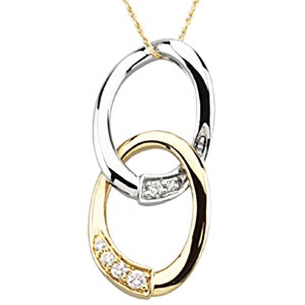 Inspirational Blessings 14kt Yellow and White Gold Journey of Marriage Necklace