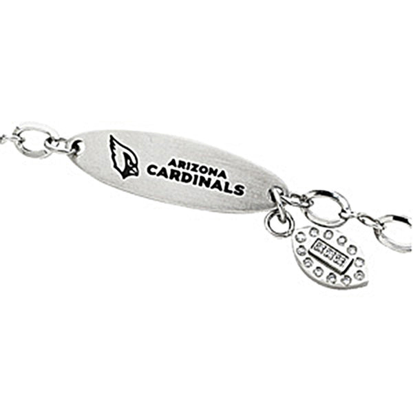 Stainless Steel Arizona Cardinals Logo Dangle ID Bracelet