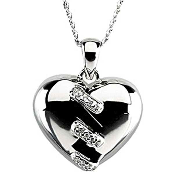 Inspirational Blessings Sterling Silver Broken Heart Necklace