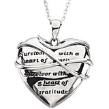 Inspirational Blessings Sterling Silver Survivor with a Heart of Gratitude Necklace