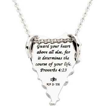 Inspirational Blessings Sterling Silver Guard Your Heart Necklace