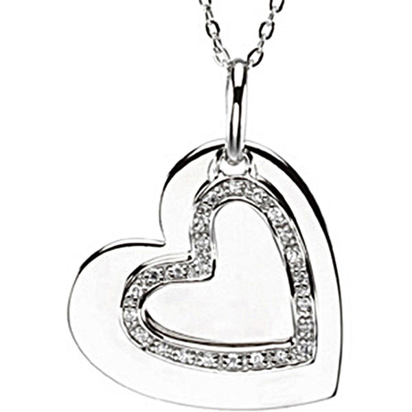 Inspirational Blessings Sterling Silver Mother and Son Heart Necklace