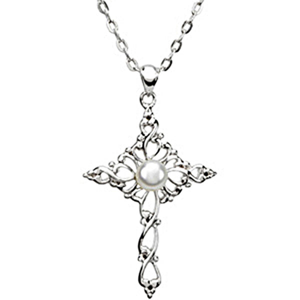 Inspirational Blessings Sterling Silver Confirmed by Grace Cross Necklace