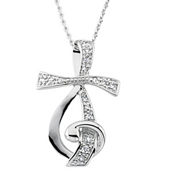 Inspirational Blessings Sterling Silver Sing for Joy CZ Necklace
